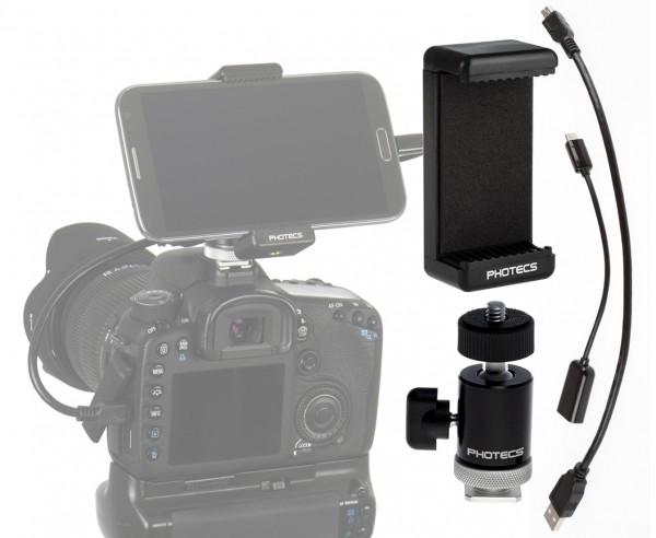 """Photecs® Adapter Set """"Smartphone an DSLR V2-BC USB 2.0"""" (für Geräte von 55 bis 85 mm, 4-teilig)"""