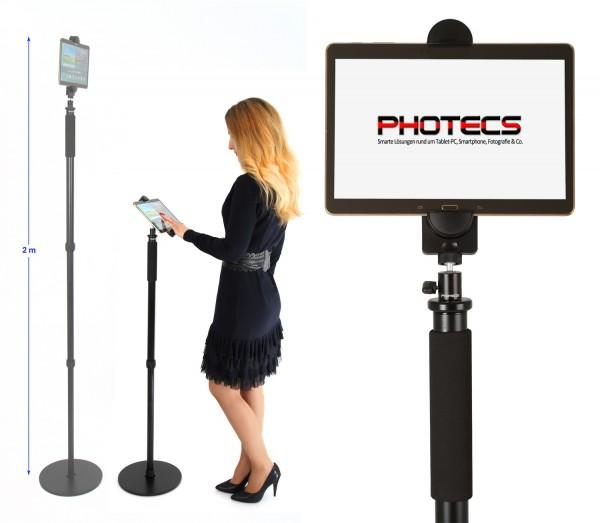 Photecs® Tablet-Bodenständer Pro V1, Boden-Stativ (höhenverstellbar bis 1,76 m)