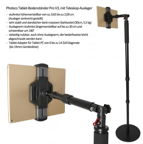 Photecs® Tablet-Bodenständer Pro V3, Boden-Stativ mit Stativverlängerung (höhenverstellbar > 2 m)
