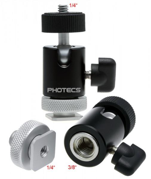 "Photecs® Mini-Stativkopf Pro, CNC-gefertigt, mit Stahlkern, 3/8"", 1/4"" & Blitzschuh"