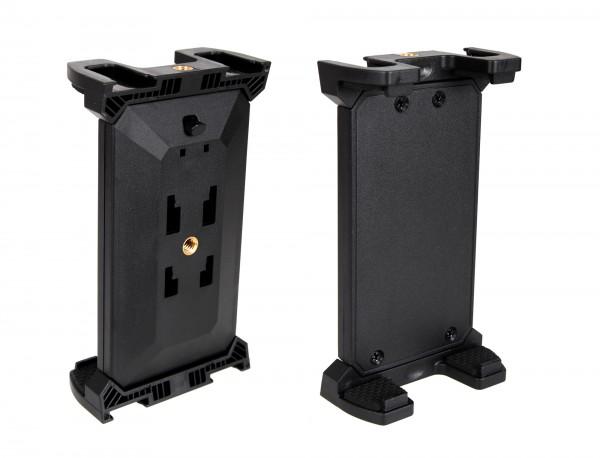 """Photecs® Tablet Stativ Adapter Typ5 mit 3x 1/4"""" Zoll Gewinde, f. Tablets bis 28 cm Breite"""