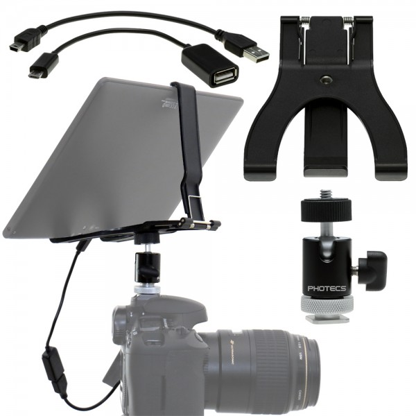 "Photecs® Tablet an DSLR Adapter Set ""Basic"" (4-teilig), Fernsteuerung von Canon, Nikon o. Sony DSLR"