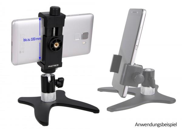 """Photecs® Smartphone Stativ """"Pro V3-PX"""", Selfie-Stativ, Handy-Halter, Ständer für Handy, Kameras etc."""