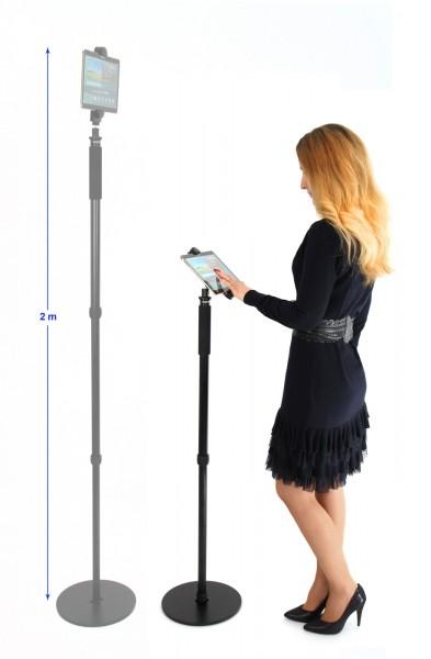 Photecs® verstellbarer Tablet-Bodenständer Pro V1, Boden-Stativ (höhenverstellbar bis 1,76 m)