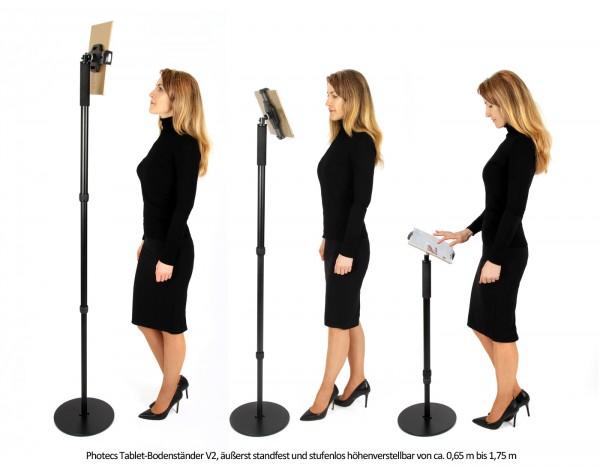 Photecs® verstellbarer Tablet-Bodenständer Pro V2, Boden-Stativ (höhenverstellbar bis 1,75 m)