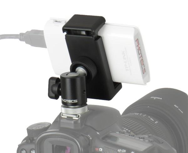 Photecs® Blitzschuh Adapter Set V6, Phone Clip klemmt Geräte von 55-85mm, Smartphone auf Blitzschuh