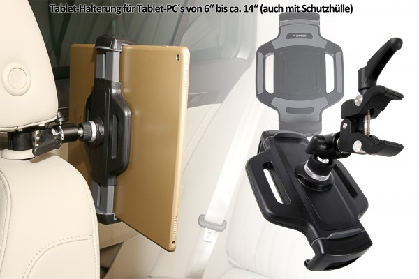 Photecs® Universal Auto Tablet-Halterung Pro V3, Halter f. iPad Pro und Tablet-PC von 6 - 14 Zoll