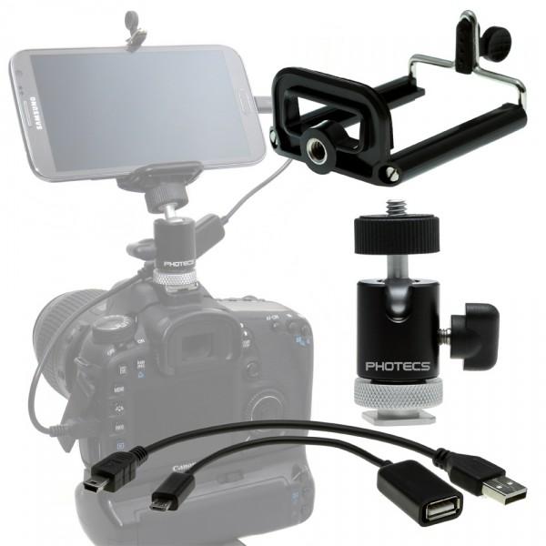"""Photecs® Adapter Set """"Smartphone an DSLR V1-BXL USB 2.0"""" (für Geräte von 60 bis 85 mm, 4-teilig)"""