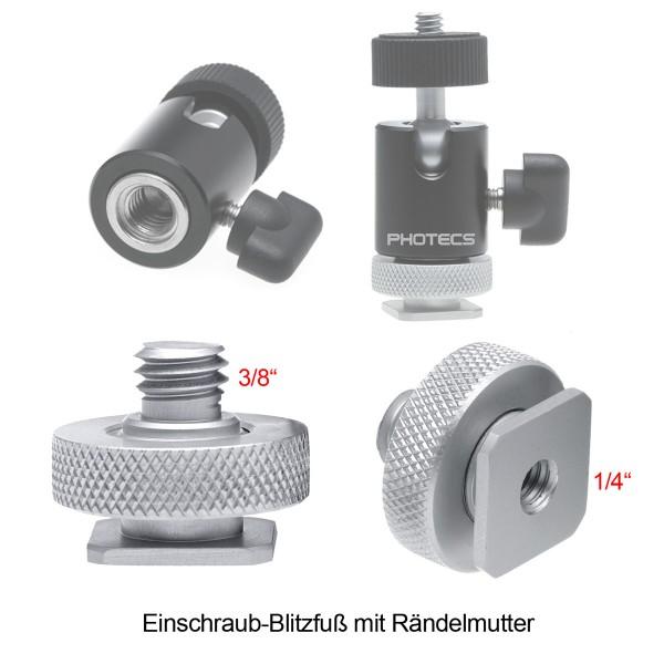 """Photecs® Blitzschuh Adapter 3/8"""", Einschraub-Blitzfuß, komplett aus hochfester Aluminium-Legierung,"""