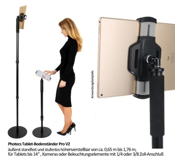 Photecs® Tablet-Bodenständer Pro V2, Boden-Stativ (höhenverstellbar bis 1,75 m)