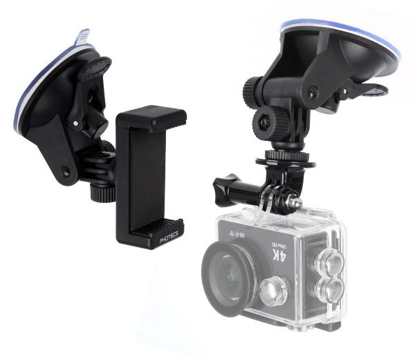 Photecs® Universal Saugnapf Halterung V2 (55-85mm), für Smartphone, Kamera, Handy, Action Cam, GoPro