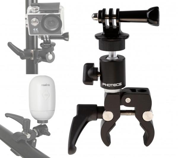 """Photecs® Universal-Halterung, Klemm-Halter mit 1/4""""-Anschluss, für Dashcam, Kamera, Leuchten etc."""