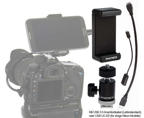 """Photecs® Adapter Set """"Smartphone an DSLR V2-BC USB 3.0"""" (für Geräte von 55 bis 85 mm, 4-teilig)"""