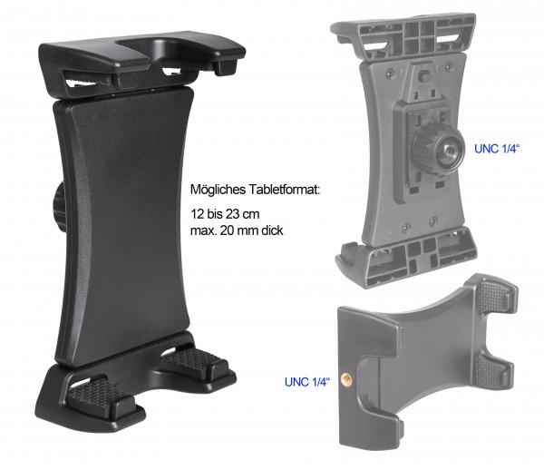 """Photecs® Tablet Stativ Adapter Typ2 mit 1/4"""" Zoll Gewinde, f. Tablets bis 23cm Breite"""